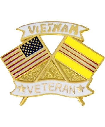 14751 - United States & Vietnam Crossed Flags Vietnam Veteran Pin