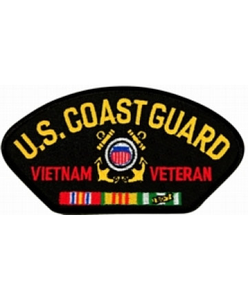 FLB1447 - US Coast Guard Vietnam Veteran Insignia with Ribbons Black Patch