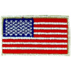 "091207 - US Flag Patch 3 1/4 x 1 7/8 ""  SEW ON Silver Edge"