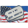 14093 - POW/MIA Never Forgotten Dog Tag on United States Flag Pin
