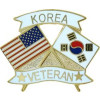 15154 - United States & Korea Crossed Flags Korea Veteran Pin