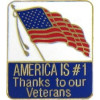 15767 - America Is #1 Thanks To Our Veterans Pin