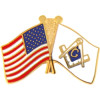 70096 - United States & Masonic Crossed Flags Pin