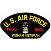 FLB1809 - US Air Force Proudly Served Woman Veteran Emblem Black Patch
