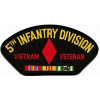 FLB1521 - 5th Infantry Division Veitnam Veteran with Ribbon Black Patch