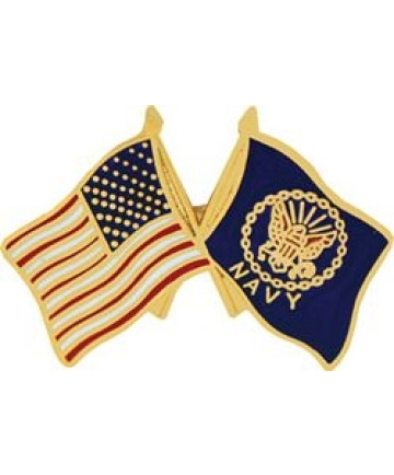 14808 - United States & Navy Crossed Flags Pin