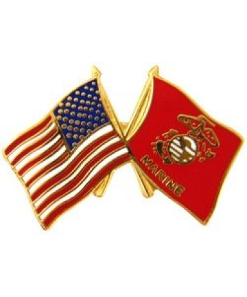 14810 - United States & Marine Corps Crossed Flags Pin