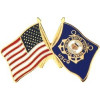 14448 - United States & Coast Guard Crossed Flags Pin