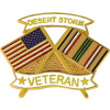 14631 - United States & Desert Storm Crossed Flags Desert Storm Veteran Pin