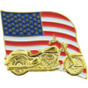 14646 - United States Flag & Motorcycle Pin