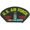 FLB1500 - US Air Force Korean War Veteran with Ribbons Emblem Black Patch