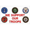 PCF44 - We Support Our Troops with Branches of Service 1 Sided Screen Printed Flag3' x 5